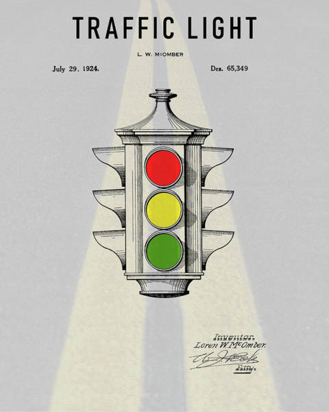 Mixed Media - Traffic Light Patent by Dan Sproul