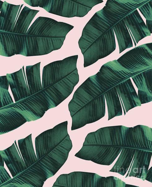 Banana Leaf Mixed Media - Tropical Blush Banana Leaves Vibes #2 #decor #art by Anitas and Bellas Art