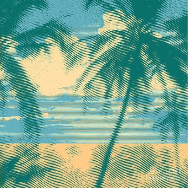 Wall Art - Digital Art - Tropical Idyllic Landscape With Palms by Jumpingsack