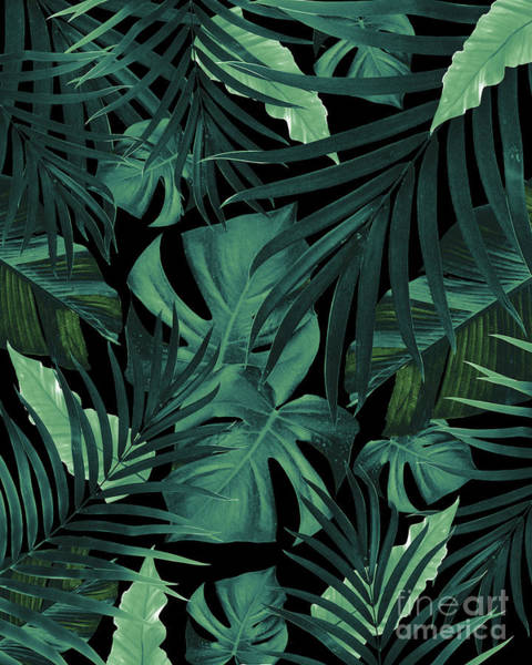 Banana Leaf Mixed Media - Tropical Jungle Night Leaves Pattern #1 #tropical #decor #art by Anitas and Bellas Art