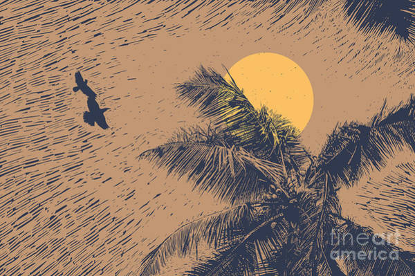 Engraved Digital Art - Tropical Landscape With Palms Trees by Jumpingsack