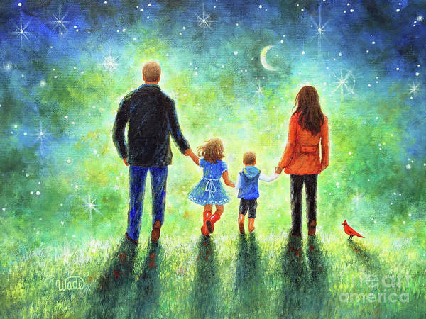 Wall Art - Painting - Twilight Walk With Mom And Dad by Vickie Wade