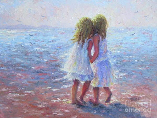 Wall Art - Painting - Two Blonde Beach Girls by Vickie Wade