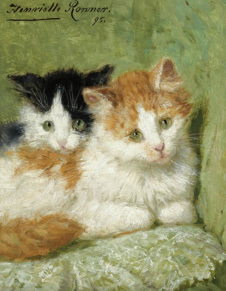 Kitten Play Wall Art - Painting - Two Kittens Sitting On A Cushion, 19th Century by Henriette Ronner-Knip