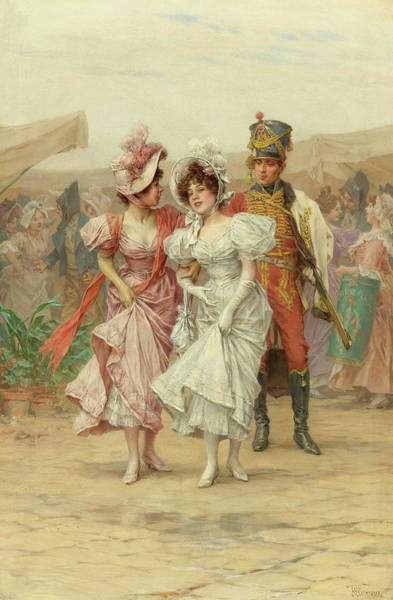Flirtatious Painting - Two Strings To His Bow And The Fete At St. Cloud, 19th Century by Frederik Hendrik Kaemmerer