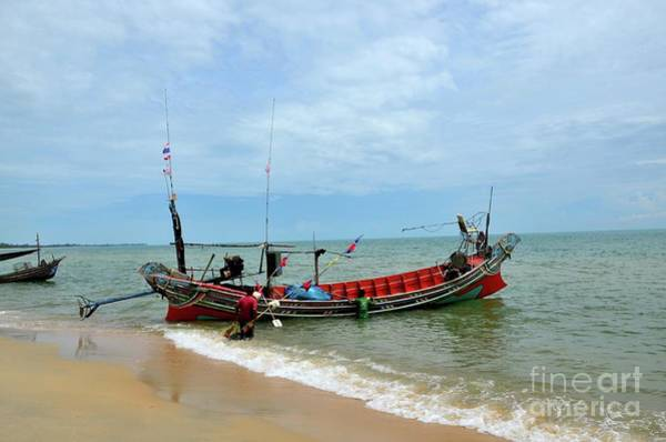 Angling Art Photograph - Two Thai Fishermen Take Equipment Onto Boat At Seaside Pattani Thailand by Imran Ahmed