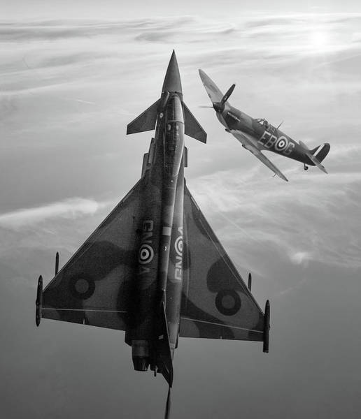 Front Mixed Media - Typhoon And Spitfire Synchro-pair Display Team by Smart Aviation