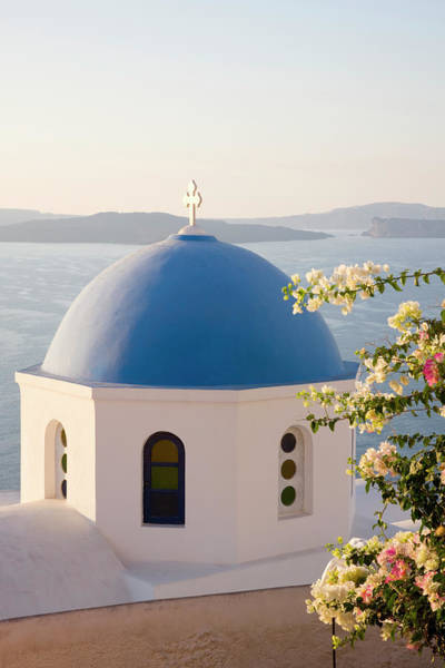 Bougainvillea Photograph - Typical Blue-domed Church, Oia by David C Tomlinson