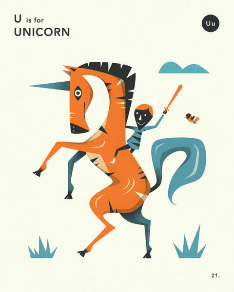 Illustrator Wall Art - Digital Art - U Is For Unicorn 2 by Jazzberry Blue