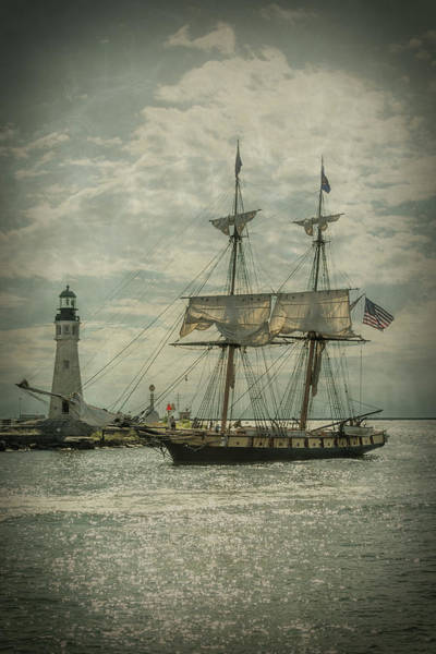 Photograph - U. S. Brig Niagara Entering Buffalo Harbor by Guy Whiteley