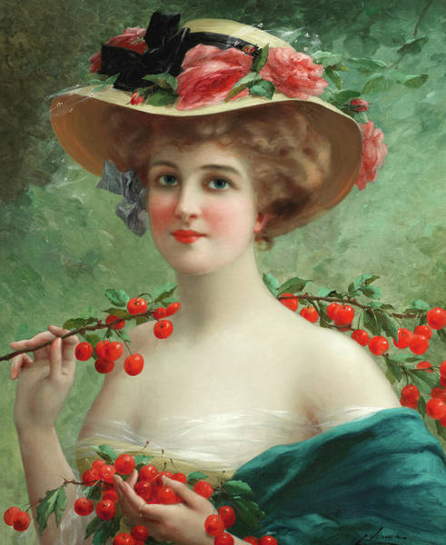 Wall Art - Painting - Under The Cherry Tree by Emile Vernon