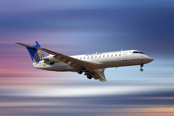Wall Art - Mixed Media - United Express Bombardier Crj-200lr by Smart Aviation