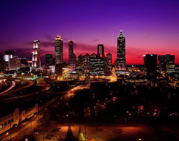 Georgia Photograph - Usa, Georgia, Atlanta, Skyline At Night by Jerry Driendl