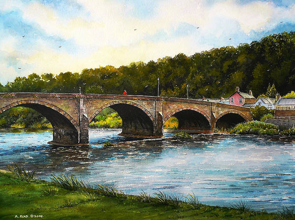 Wall Art - Painting - Usk Bridge Wales by Andrew Read
