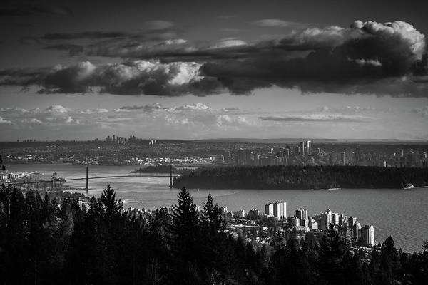 Wall Art - Photograph - Vancouver Skyline In Black And White by Monte Arnold
