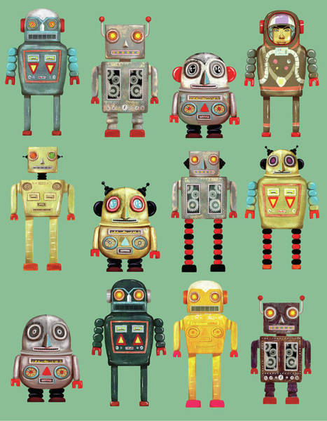 Individuality Digital Art - Variety Of Robots In A Row by Andy Ward