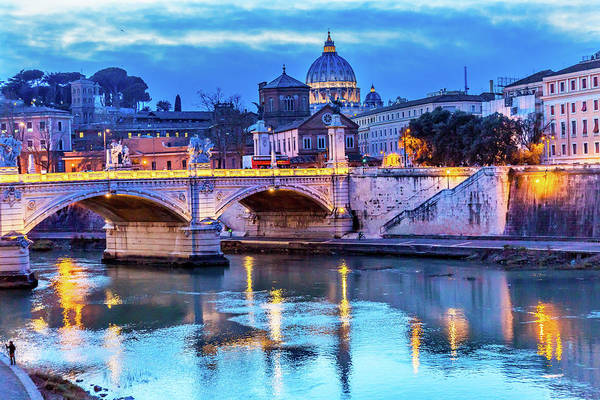 Wall Art - Photograph - Vatican Dome And Tiber River, Ponte by William Perry
