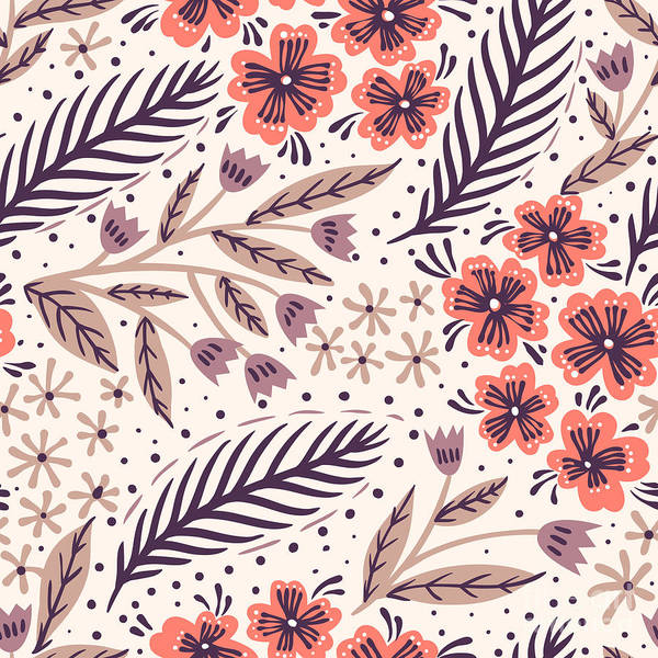 Ornaments Wall Art - Digital Art - Vector Floral Seamless Pattern With by Anna Paff