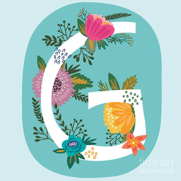 Title Digital Art - Vector Hand Drawn Floral Monogram With by Marushabelle