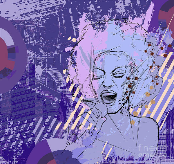 Karaoke Wall Art - Digital Art - Vector Illustration Of An Afro American by Isaxar