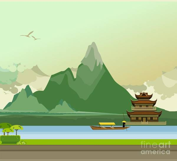 Vector Illustration Of An Old Buddhist Art Print