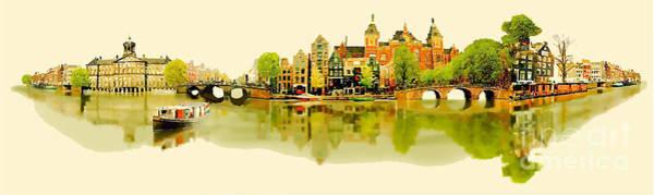 Panoramic Digital Art - Vector Water Color Illustration by Trentemoller