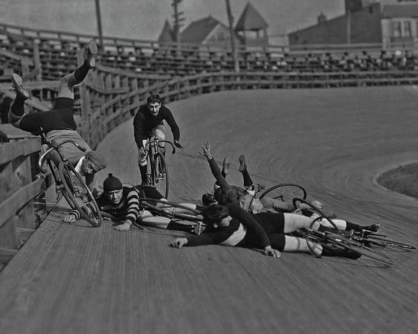 Upside Down Photograph - Velodrome Crash by Fpg
