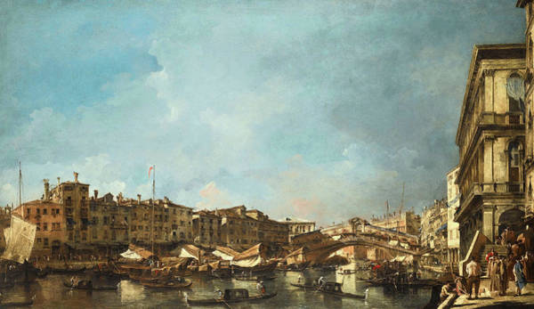 Wall Art - Painting - Venice, A View Of The Rialto Bridge, Looking North, From The Fondamenta Del Carbon by Francesco Guardi