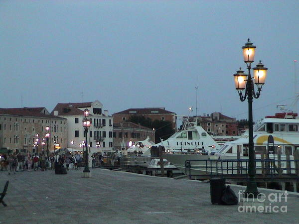 Photograph - Venice Italy San Marco Square Pier Promenade At Sundown Sunset Light Pole Panoramic View by John Shiron