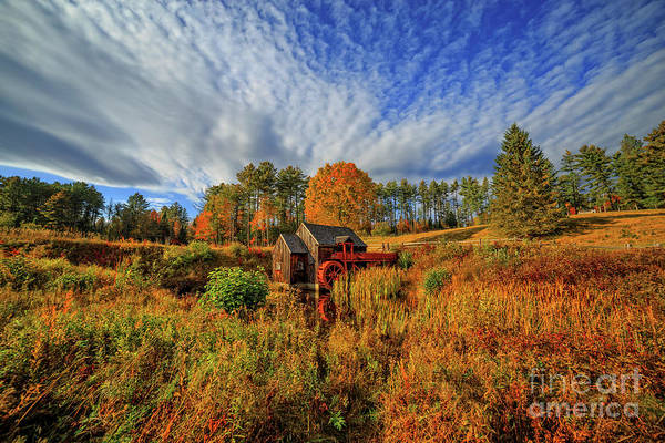 Photograph - Vermont Grist Mill Panoramic Autumn Splendor by Edward Fielding