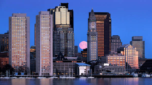 Photograph - Vernal Equinox And The Worm Moon Over Boston by Thomas Gaitley