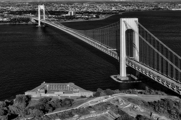 Photograph - Verrazano Bridge And Fort Wadsworth Aerial by Susan Candelario