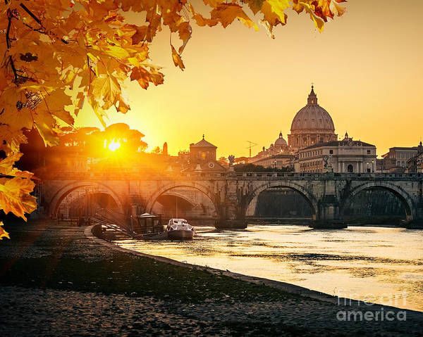 Wall Art - Photograph - View At Tiber And St. Peters Cathedral by S.borisov