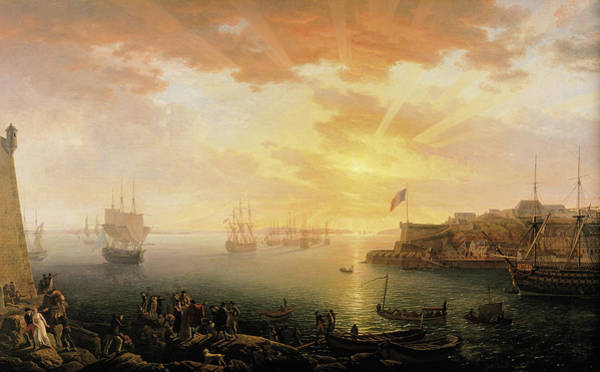 Wall Art - Painting - View Of Brest Harbor by Jean Francois Hue