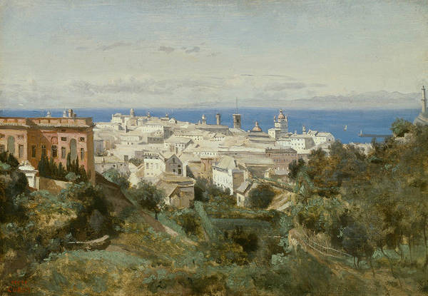 Wall Art - Painting - View Of Genoa by Jean-Baptiste-Camille Corot