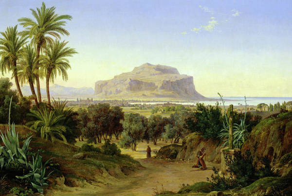 Wall Art - Painting - View Of Palermo With Mount Pellegrino by August Wilhelm Julius Ahlborn