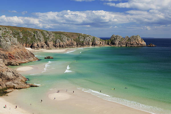 High Tide Photograph - View Of The Sandy Beach At Porthcurno by Alex Hare