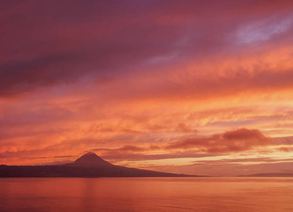 Wall Art - Photograph - View Towards The Volcano Pico On Pico Island At Sunset Sao Jorge Island Azores Portugal by imageBROKER - Karol Kozlowski