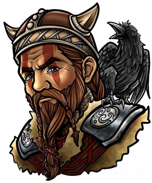 Valkyrie Digital Art - Viking Warrior Raven Odin Walhalla Valknut Loki by Siegfried Czerny