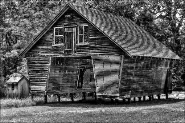 Photograph - Village Corn Crib Bw by Susan Candelario