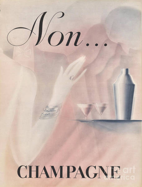 Pink Champagne Painting - Vintage Art Deco Poster by Mindy Sommers