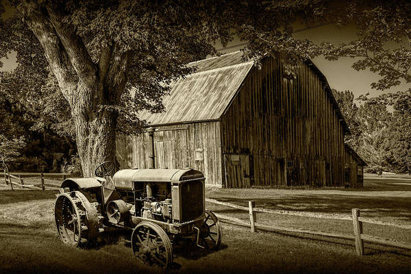 Wall Art - Photograph - Vintage Mccormick-deering Tractor With Old Weathed Barn And Wood by Randall Nyhof