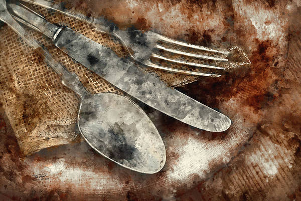 Wooden Spoon Digital Art - Vintage Silverware by Tim Vogel