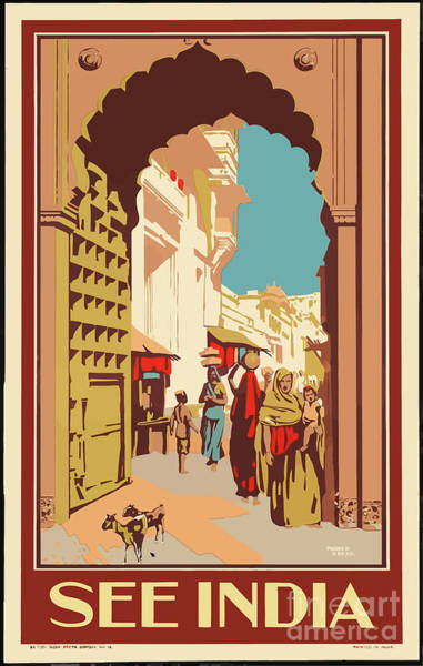 Wall Art - Painting - Vintage Travel Poster - India by Esoterica Art Agency