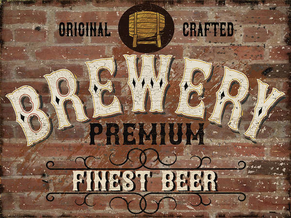 Whiskey Mixed Media - Vintage Western Label Font Named Brewery. Good Typeface For Any  by Marilu Windvand