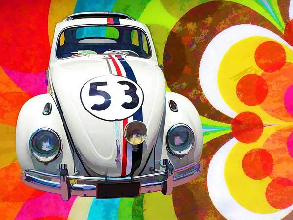 Funny Car Wall Art - Painting - Volkswagen, Beetle, Type1 by ArtMarketJapan