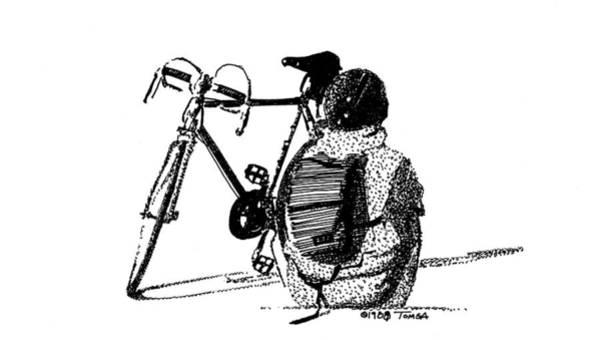 Stipple Drawing - Waiting by Bill Tomsa