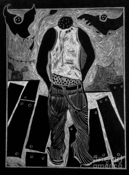 Drawing - Walking While Black. by Cindy Suter