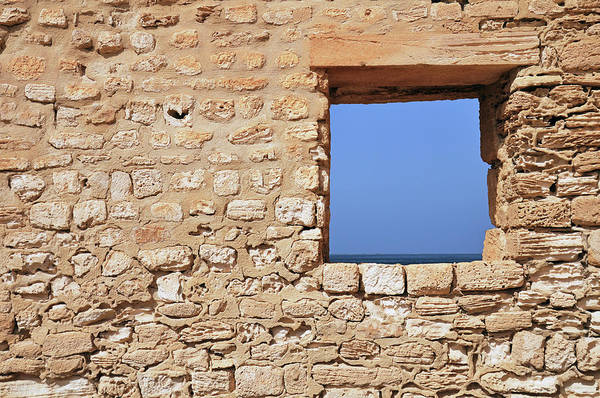 Tunisia Photograph - Wall With Window Framing Blue Seascape by Sami Sarkis