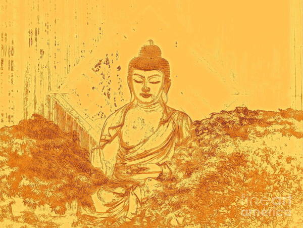 East Asia Wall Art - Digital Art - Warm Buddha by Magda Van Der Kleij
